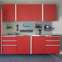 Red-Sliding-Cabinets-OPEN-w-Stainless-Workbench-Grey-Slatwall